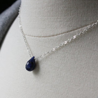 Genuine Blue Sapphire Necklace - Birthstone Jewelry - Sterling Silver Gemstone Necklace