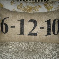 Special Date Lumbar Pillow In Tan Burlap and by graceadkinsdesigns