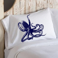 Navy Blue Octopus Ocean Beach Nautical Pillowcase by Royalkane