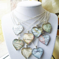 Custom Glass Heart Map Necklace by PaperAndPlace on Etsy