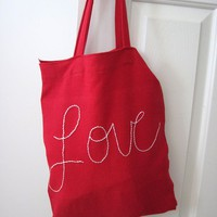 Shopping Tote in Love by PlumfieldShop on Etsy