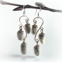 Pussy willow chandelier earrings, winter wonderland nature earrings, eco friendly plant earrings, botanical jewelry, wedding jewelry