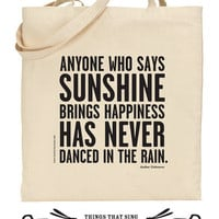 Organic Eco Cotton Tote Bag Dance in the Rain by ThingsThatSing