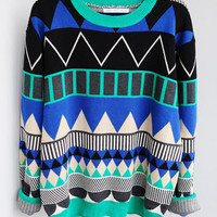 L 080204 u Diamond geometric pattern loose pullover