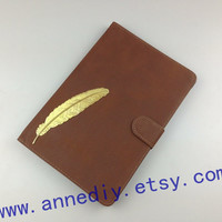 Golden feather iPad Case, iPad mini cover, iPad mini case, personal iPad cover, leather iPad mini case