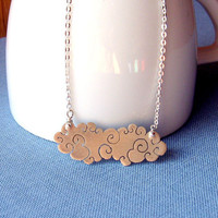 Sterling silver cloud necklace Long by lunahoo on Etsy