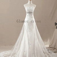 2013 new design custom wedding dresses with cathedral train    ivory mermaid bridal wedding dress    tulle lace sweetheart wedding gowns