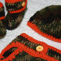 Little Hunter Camo and Orange Baby Diaper Cover, Hat and Booties Set-  Baby Shower Gift, Ready to Ship