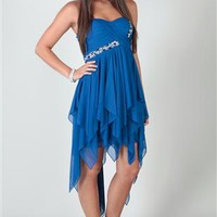 strapless high low dress with ruched bodice, strone trim and tendrils