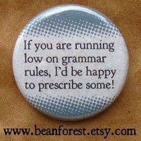 prescriptive grammar  pinback button badge by beanforest on Etsy