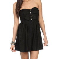 Bow Button Tube Dress - Teen Clothing by Wet Seal