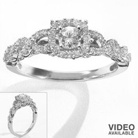 Simply Vera Vera Wang Round-Cut Diamond Twist Frame Engagement Ring in 14k White Gold (3/8 ct. T.W.)