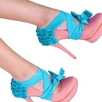 Teal/Turquoise Pumps / High Heels - Aqua Heel Condom | UsTrendy