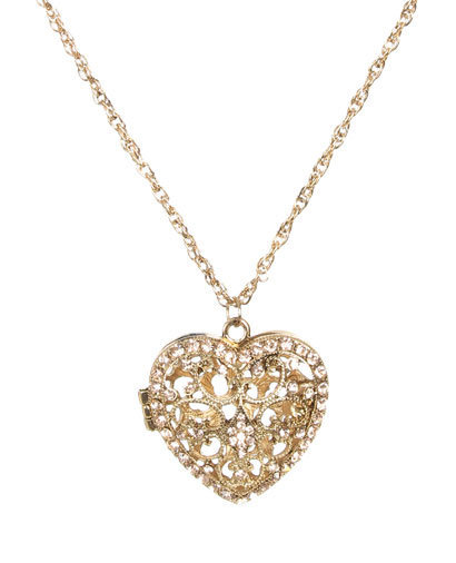 Filigree Rhinestone Heart Necklace - Teen Clothing by Wet Seal
