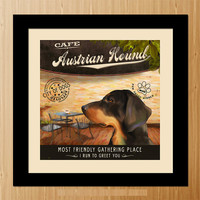 Austrian Hound Dog Art Poster - Coffee Shop - Kitchen, Dinning Room, Unique Pet Art - D01-009-10X10