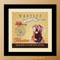 Mastiff Dog Art Poster - A01-052-10X10