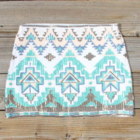 Waterloo Native Skirt in turquoise, Women's Sweet Bohemian Clothing