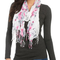 Floral Weave Fringe Scarf - Teen Clothing by Wet Seal