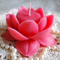 Pure Beeswax Lotus Flower Candle Holder by PeaceBlossomCandles