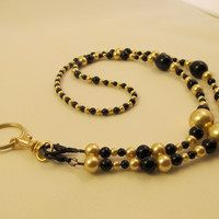 Beaded ID Badge Lanyard Necklace Pearls Black &amp; Gold by AWRdesigns