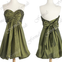 Strapless Sweetheart Taffeta  Dark Green Short Cocktail Dresses,  Wedding Party Dresses, Formal Gown, Bridesmaid Dresses