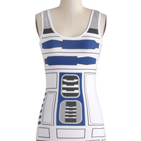 ModCloth Sci-fi Mid-length Tank top (2 thick straps) You R2 Cute Top