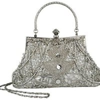 Exquisite Seed Bead Sequined Leaf Evening Handbag, Clasp Purse Clutch w/Hidden Handle