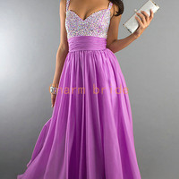 cheap long light purple prom dresses with sequins   v-neck elegant evening gowns with straps on sale   unique chiffon dress for party hot
