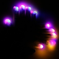 Raver PiYB LED White eGloves w/MultiModes! Full Glove Set! Great for Light Shows!
