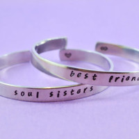 soul sisters / best friends - Hand Stamped Aluminum Cuff Bracelets Set, Handwritten Font, Forever Love, Friendship, BFF
