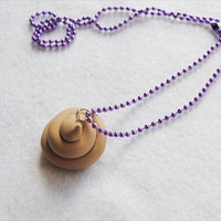 Poo Pendant with Purple Ball Chain Necklace by CapricaAccessories