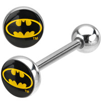 Stainless Steel Batman Logo Barbell Tongue Ring | Body Candy Body Jewelry