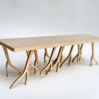 Modern Wood Bench miniature - 'ROOTSY' series, scale model, branches, twigs,