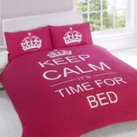 TWIN CERISE PINK TEENAGER KEEP CALM ITS TIME FOR BED COTTON REVERSIBLE COMFORTER COVER:Amazon:Home & Kitchen