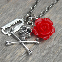 Skull Necklace, Razor Blade Necklace, Red Rose Necklace, Gothic, Goth, Heavy Metal, Rock n Roll, Rocker, Rock and Roll Jewelry, Punk Rock,