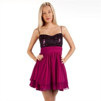 Morgan & Co. Juniors Sequined Bodice Sweetheart Dress with Tiered Skirt at Von Maur