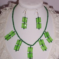 Emerald Green Statement Necklace Earring Set