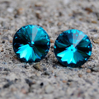 Vintage Super Sparklers Medium  Teal Swarovski by MASHUGANA