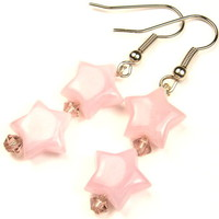 Starlight Dangling Earrings Pink Lucite Beads by BaubleBinBeads