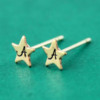 Tiny Star Initial Stud Earrings - Spiffing Jewelry