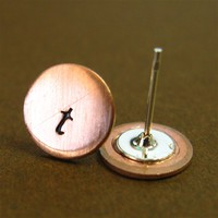 Initial Disc Stud Earrings - Spiffing Jewelry