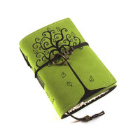 Leather journal Green Notebook Swirl Tree by Kreativlink on Etsy