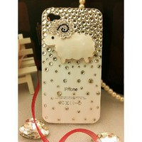 3d Bling Crystal Case, Cover for Apple Iphone 4 and 4s (White Sheep): Cell Phones & Accessories