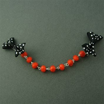 Polka Dot Halloween Sweater Clip - Spiffing Jewelry