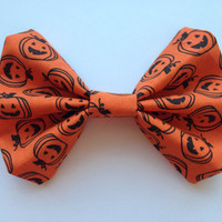 Girl's Orange Halloween Pumpkin Fabric Hair Bow