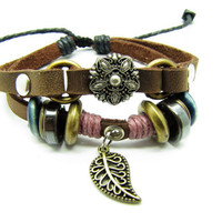 Soft Leather Bracelet Metal Flower Women&#x27;s Leather by braceletcool