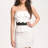Lush Scalloped Tiers Strapless Dress (Juniors) | Nordstrom