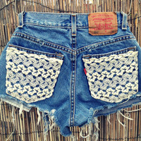 Lace pocket shorts high waisted Size XSMALL by UnraveledClothing