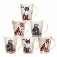 Set of Six Alex Clark Cats Mugs - Mugs/cup from the gifted penguin UK