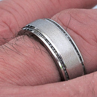 Raw Diamond Wedding Band for Men with Stoned Finish by pmgart